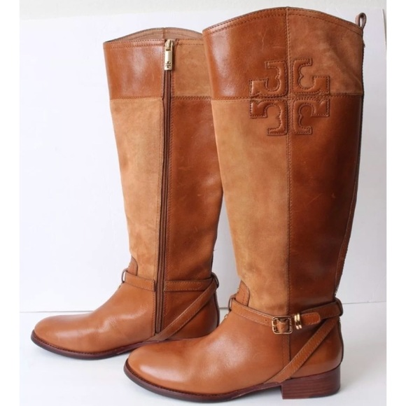 d0f05303c78e Tory Burch Lizzie Brown Riding Boots Suede Leather.  M 5b08a29205f430d6d0e9f473